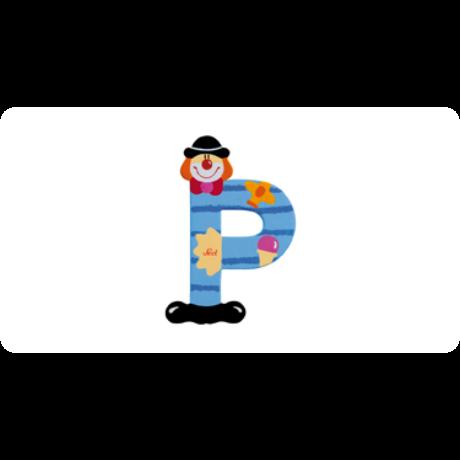 P betű bohócos kék