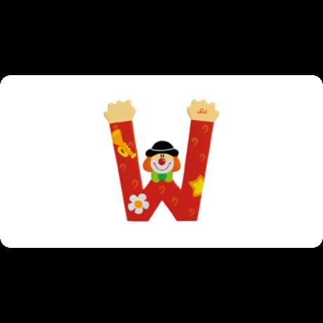 W betű bohócos piros
