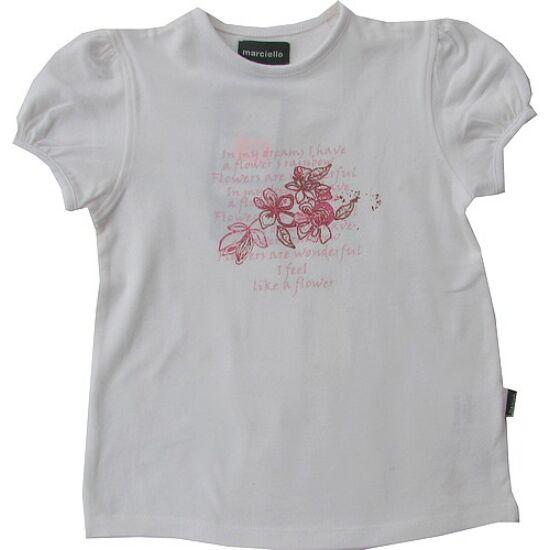 Fehér póló Flower felirattal Kanz