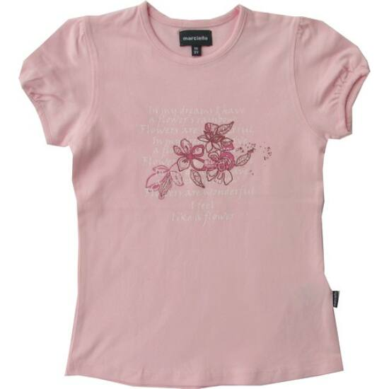 Rózsaszín póló Flower felirattal Kanz