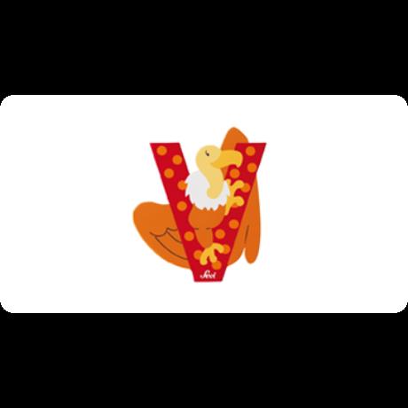 V betű állatos piros